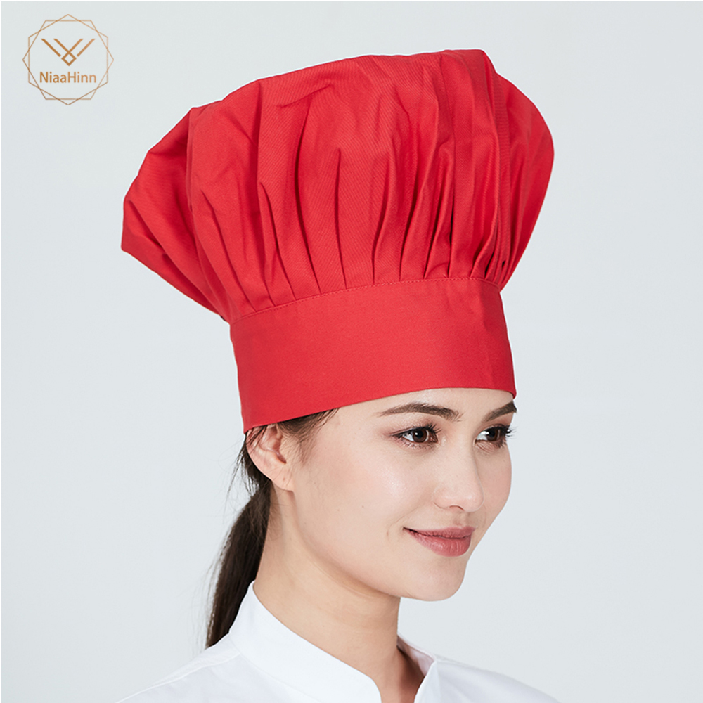 Unisex High Quality Workwear Fold Cap Chef Hat Wholesale Solid Sushi Chef Waiter Hats Adult Restaurant Hotel Bakery Canteen Chef