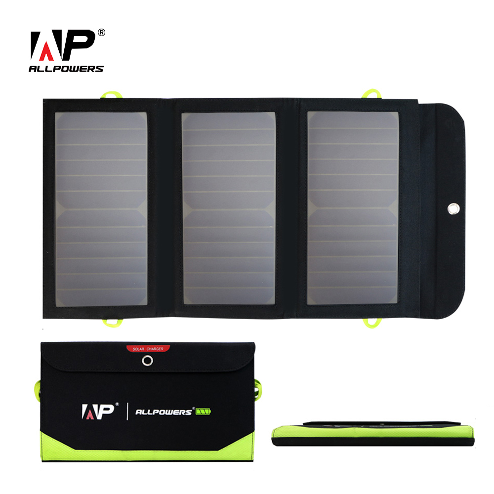 ALLPOWERS 5V 21W Chargers Solar-powered 6000mAh 2 USB Output Charger for iPhone iPad Samsung Xiaomi Huawei Vivo HTC LG Sony цена и фото