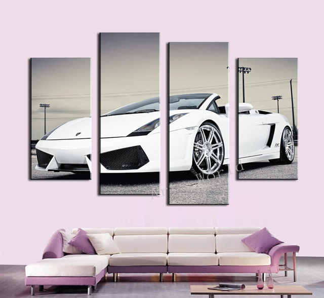 4 Pcs (No Frame)White Sports Car Wall Art painting Home Decoration ...