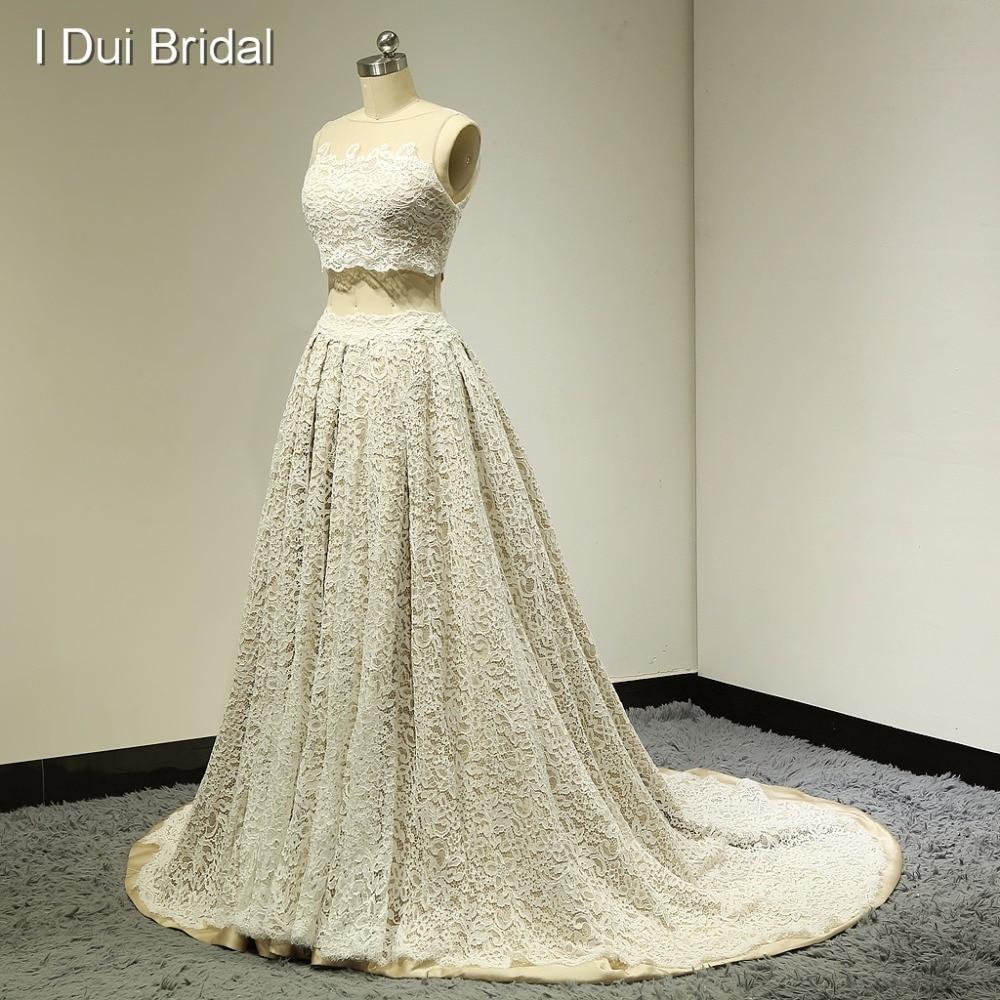 Dvodelne čipkaste poročne obleke iluzija izrez za šampanjec podlogo resnične fotografije 2017 Nova tovarna po meri ELS-019