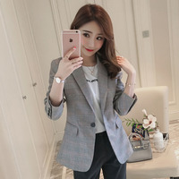 2019 Spring New Fashion European Wind Full Sleeve Button Short OL Office Suit Coat High Quality Outwear Tops Office Lady Jacket