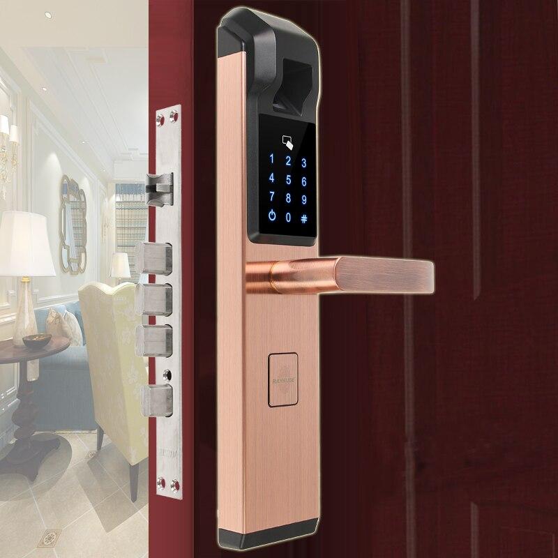 RAYKUBE serrure de porte électronique biométrique d'empreintes digitales serrure de mot de passe numérique intelligente 4 en 1 R-FZ3 d'entrée sans clé