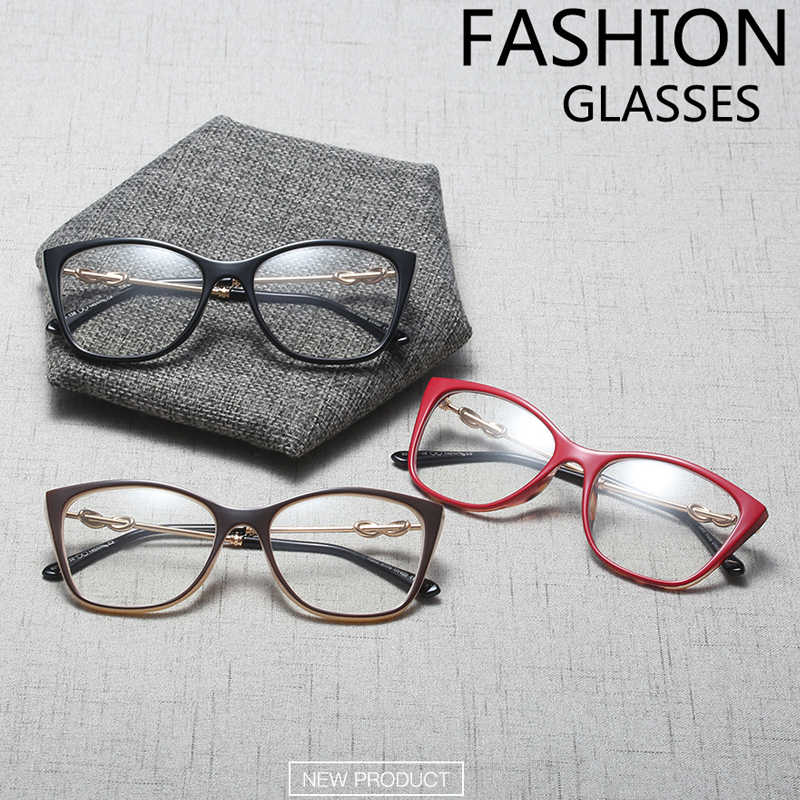 90359268977ba ... QPeClou Vintage Cat Eye Glasses Frame Women New Brand Decorative Clear  Lens Glasses Female Cateye Eyeglasses