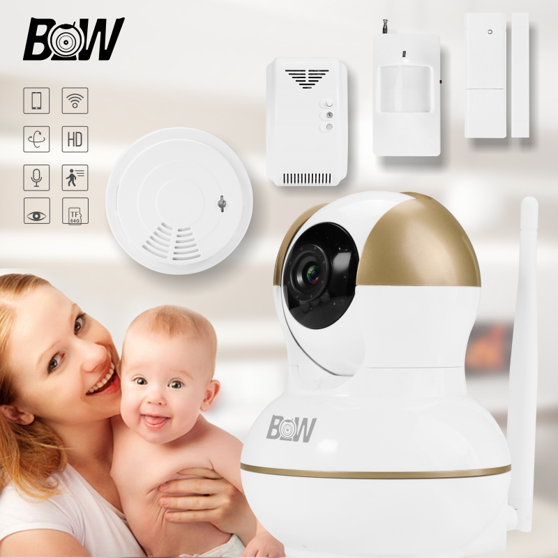BW Wireless IP CCTV Camera WiFi Indoor Night Vision 2 Way Audio PnP Surveillance Camera Sensor Detector Alarm Security System bw wireless wifi door