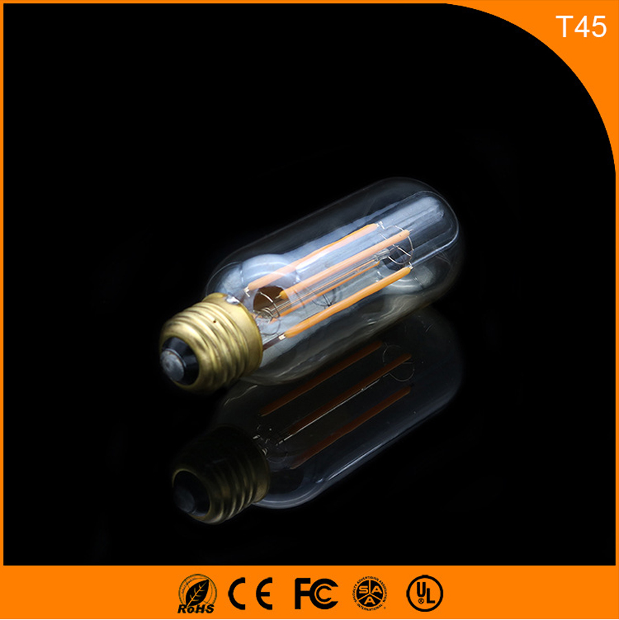 50PCS 4W E27 B22 Led Bulb, T45 LED COB Vintage Edison Light ,Filament Light Retro Bulb AC 220V 5pcs e27 led bulb 2w 4w 6w vintage cold white warm white edison lamp g45 led filament decorative bulb ac 220v 240v