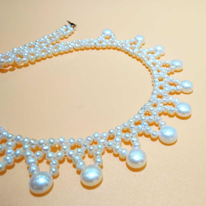 YANCEY ekskluzywny design, naturalne prawdziwe biały naszyjnik z pereł dla kobiet/dziewczyna chiny Hot sprzedaży, moda luksusowe, z S925 srebrny