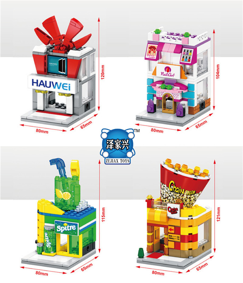 2017 New Mini Street View Building Block Popcorn Store Compatible with Lepins Sembo City Toys Christmas Gift compatible lepin city mini street view building blocks chinatown satin silk store with saleman figures toys for children gift