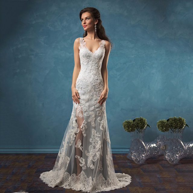 Buy 2017 sexy side slit mermaid lace for Buy back wedding dresses