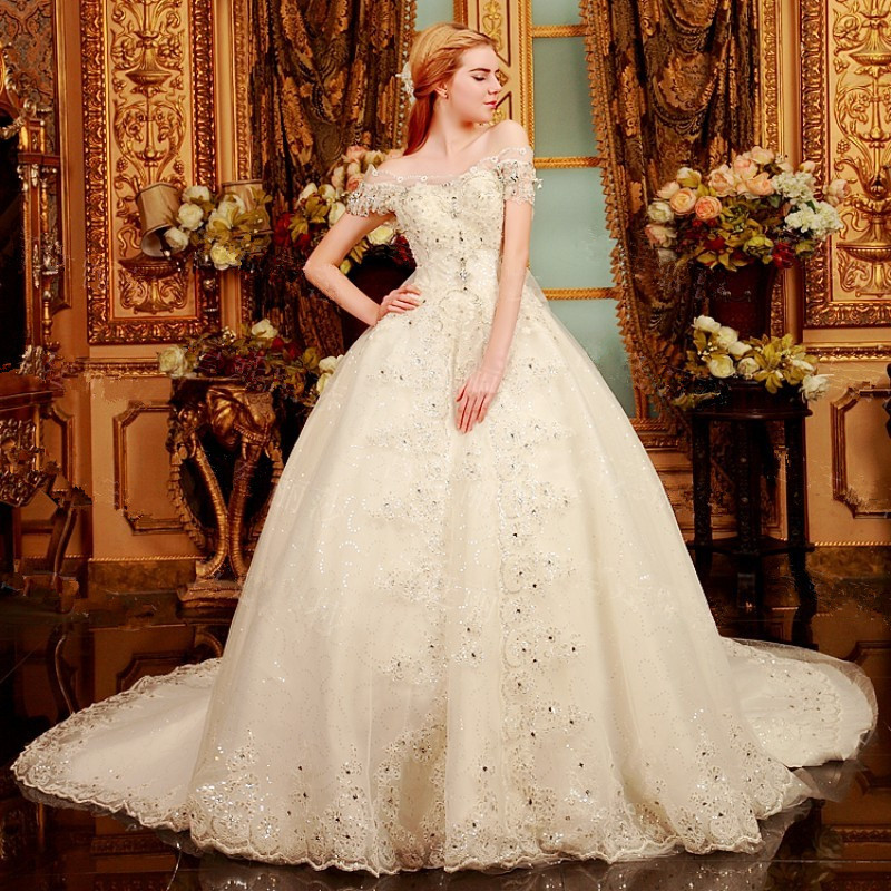 Latest Wedding Gowns 2015: New Design Crystals Heavy Beaded A Line 2015 Wedding