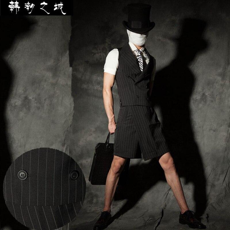 2020 hommes nouveau mince mode été rayure costume ensemble mode britannique Style mâle travail porter mince gilet ensemble scène Costumes vêtements