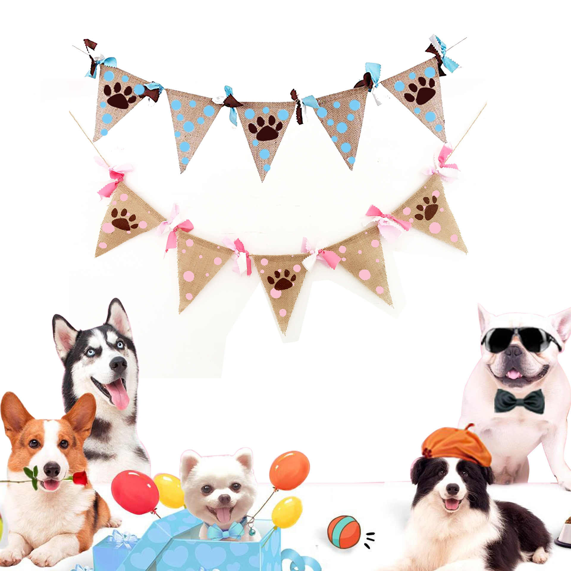 Pet Dog Birthday Party Decorations Supplies Claw Footprint Bunting Banner Hanging Garland Christmas Doghouse