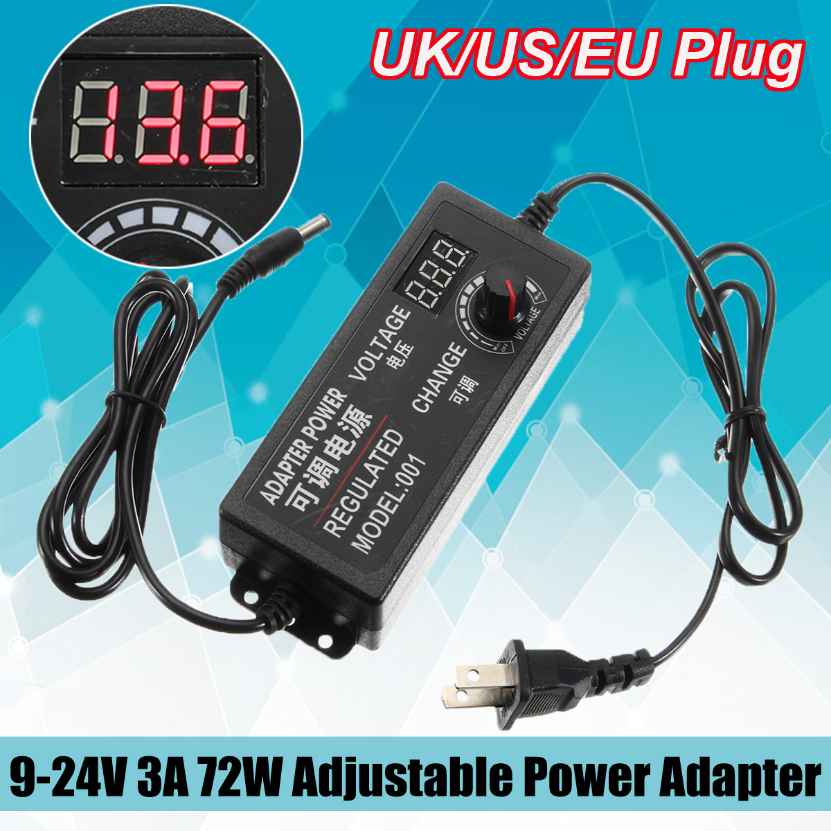 9 24V 3A 72W Speed Control Volt AC DC Adjustable Power Adapter Supply Display Screen UK