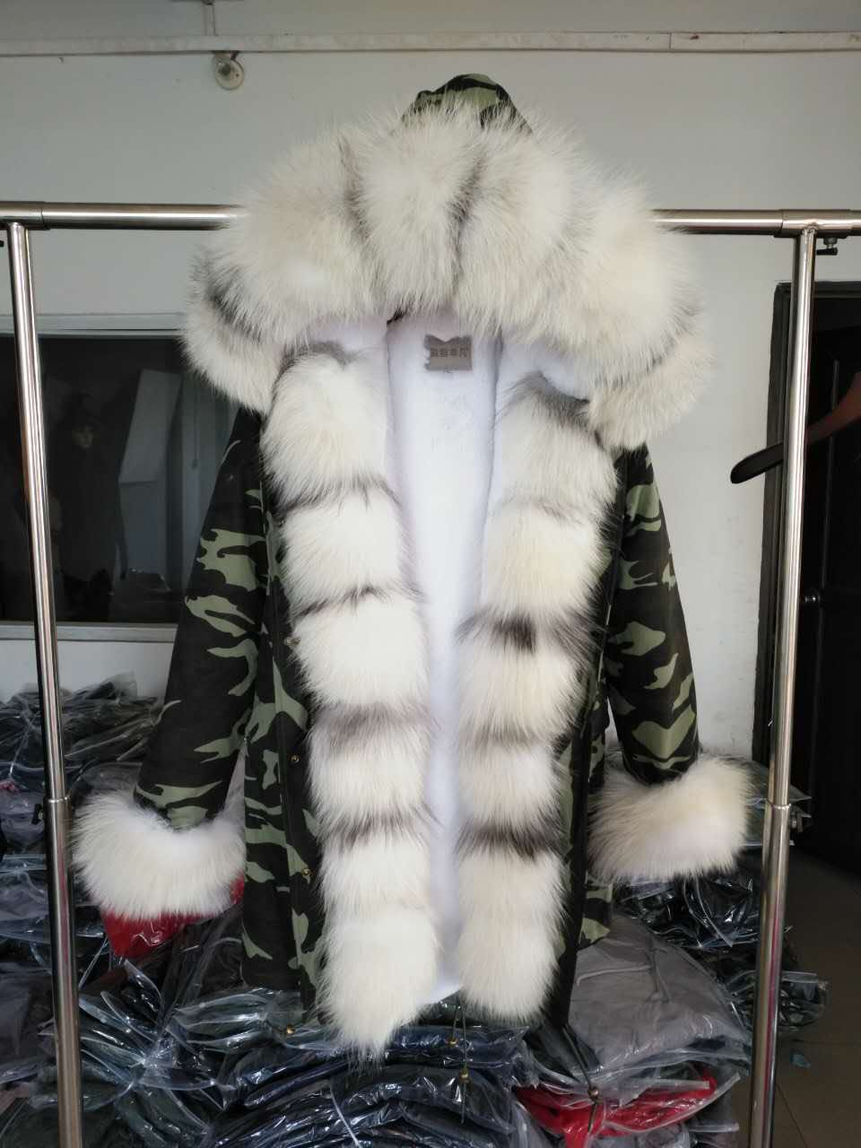 Brand Style Army Green Blue Long Coat Detachable Lining Jackets Real Fox Fur Collar Hooded Coats Thick Parka Women Winter Jacket kohuijoos 3xl winter women army green large raccoon fur collar hooded coat warm detachable natural fox fur lining parka coats