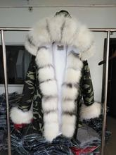 Brand Style Army Green Blue Long Coat Detachable Lining Jackets Real Fox Fur Collar Hooded Coats Thick Parka Women Winter Jacket
