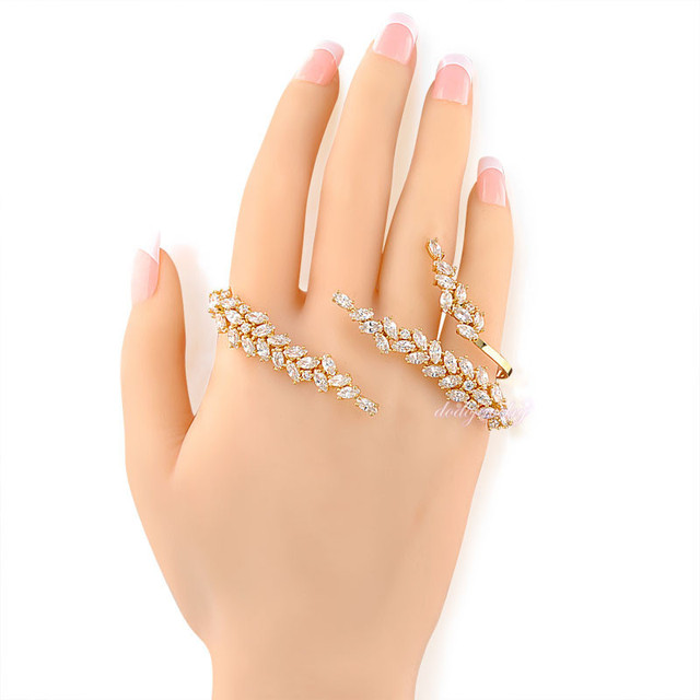leaf style hand cuff clear zircon palm bracelet wedding jewelry  gold plated palm cuff jewelry gift R221