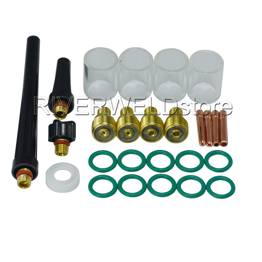 TIG Kit Gas Lens Collet Body #10 Pyrex Cup Consumables For DB SR WP 9 20 25 TIG Welding Torch Welding Accessories , 26pcs/set 18 pk tig torch large gas lens wp 9 20 25 wp tungsten 0 04 1 16 3 32
