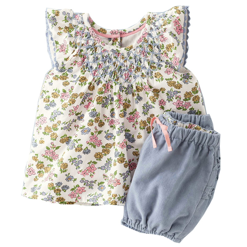 Baby Girls Sets with Floral Tops+Solid Shorts 2017 Brand Children Clothing Sets Girls Summer Clothes 100% Cotton Kids Tracksuits little maven brand 2017 new summer baby girls clothes cotton tank tops leggings dot print children s sleeveless sets 20119