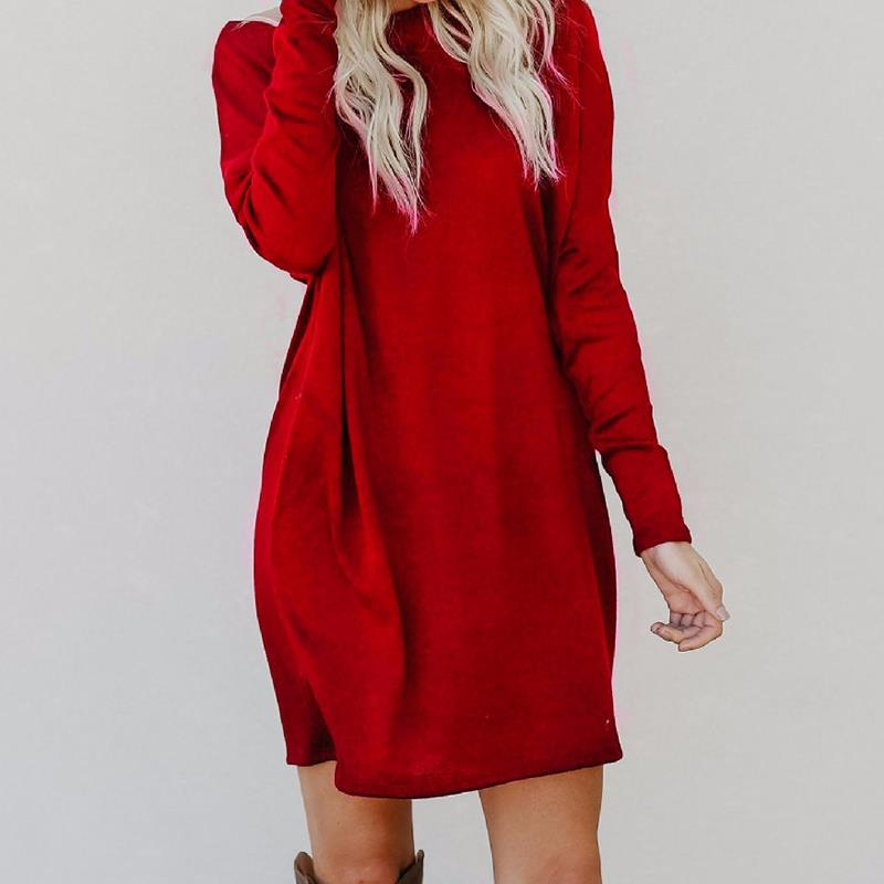 Plus Size Autumn Winter Dresses 2018 Casual Loose Dress Elegant Knitted Dress Vestidos Ladies Mini Tunic Short New Year WS5018O plus size double pockets knitted dress