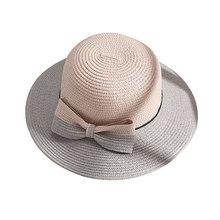 Sombrero de paja hecho a mano moda niñas Bowknot accesorios verano playa  sombreros encantadores protector solar Color a juego gr. 861fd74efd9