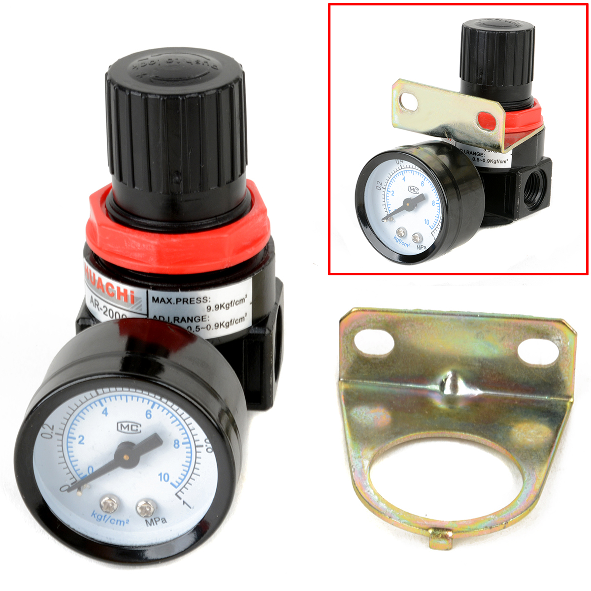 1pc AR2000 Compressor Air Control Pressure Relief Reducing Regulator Regulating Valve With Gauge Mayitr Pneumatic Parts 1pc air compressor pressure regulator valve air control pressure gauge relief regulator 75x40x40mm