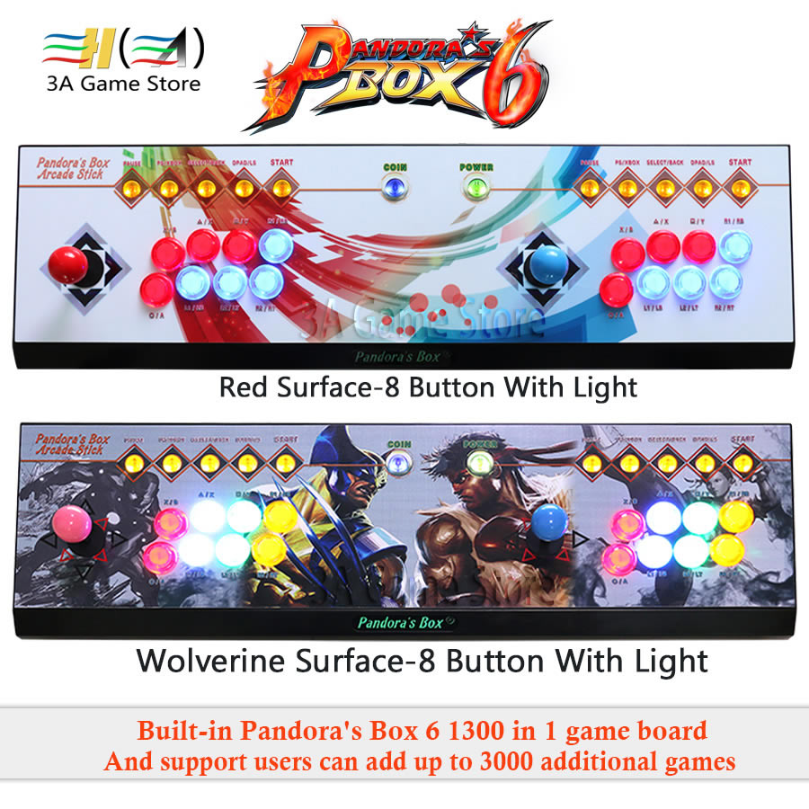 Caixa De Pandora 6 1300 em Botão levou luz controlador de joystick arcade 8 2 1 jogadores Console pode adicionar 3000 jogos usb joystick para pc