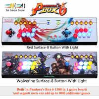 Caja Pandora 6 1300 en 1 controlador de joystick arcade 8 Botones led luz 2 jugadores Consola puede agregar 3000 juegos joystick usb para pc