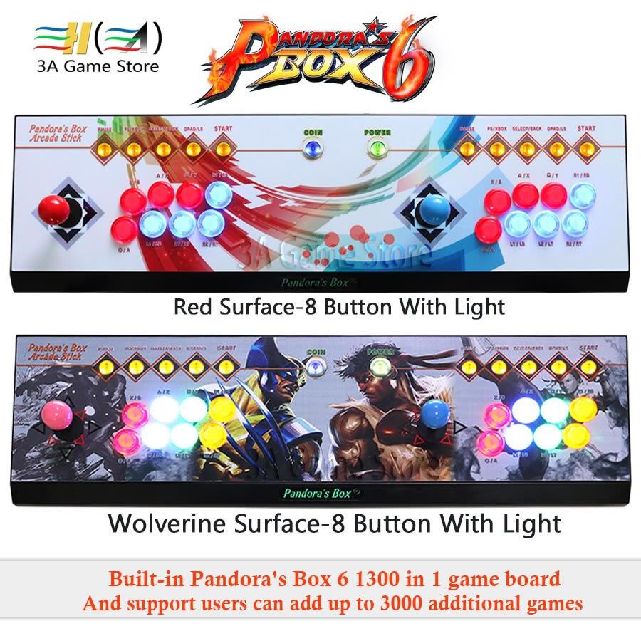Pandora Box 6 1300 en 1 manette d'arcade manette contrôleur 8 boutons lumière LED 2 joueurs Console peut ajouter 3000 jeux usb joystick pour pc