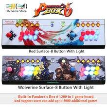 Pandora Box 6 1300 в 1 Аркады Джойстик контроллер 8 Кнопка светодио дный light 2 игроков консоли может добавить 3000 игры usb джойстик для ПК