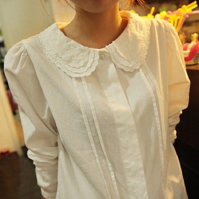 Autumn Lace Peter Pan Collar White Cotton Shirt Women's Plus Size Blouses Full Sleeve Tops blusas femininas