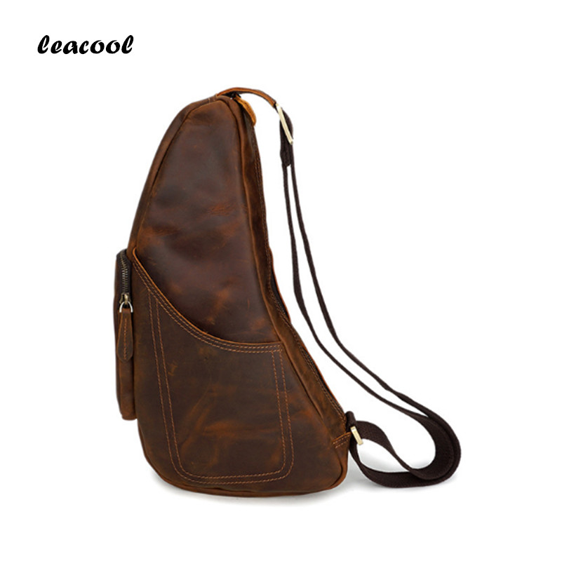 Retro Genuine Leather Real Cowhide Crazy Horse Chest Bag Pack Crossbody Shoulder Messenger Sling Travel Pockets Half Moon Bag electric digital multicooker cute rice cooker multicookings traveler lovely cooking tools steam mini rice cooker