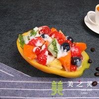 Simulation Food Salad Western Restaurant Features Food Samples Mold Simulation Model Papaya Fruit Salad Handicraft Artificial