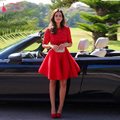Elegant Sweety Red Homecoming Dresses Half sleeve Lace Prom Dress Backless Graduation Gowns Short cocktail Party dress Z290