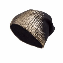 Негабаритная громоздкая шапочка женские зимние; вязанные; шерстяные теплые шляпы; дизайн для золочения Skullies Fur Story 17607