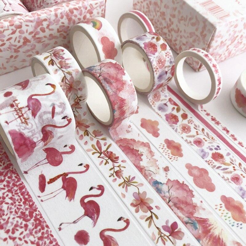 8 Pcs/pack Green Leaves Cactus Bullet Journal Washi Tape Set Adhesive Tape DIY Scrapbooking Sticker Label Masking Tapes