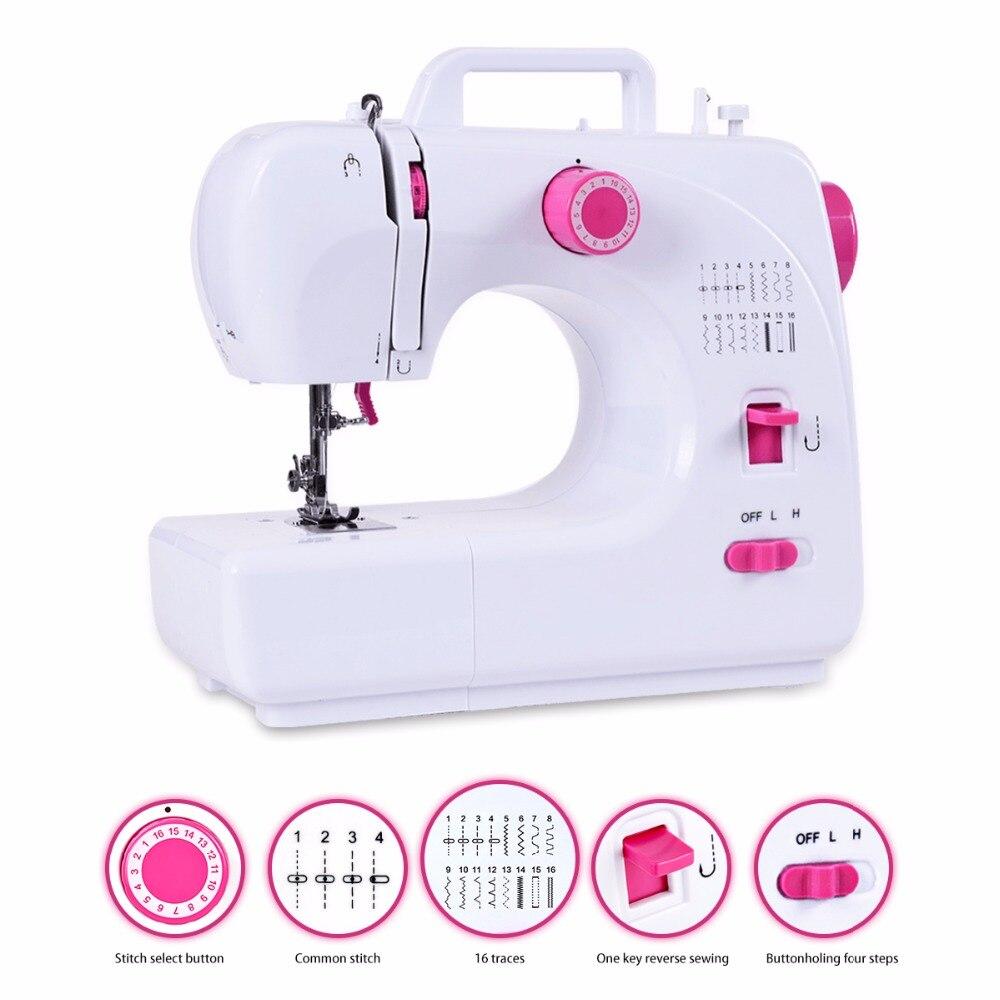 Fanghua Multifonctionnel 16 Points Portable Ménage Mini Machine À Coudre Électrique Machine À Coudre Remplaçable Presse Pied Pédale