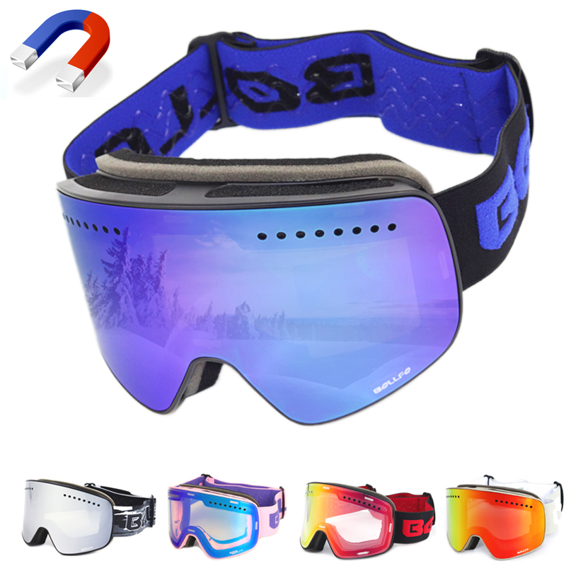 2018 New Magnetic Ski Glasses Double Layers Mountaineering Glasses UV400 Anti-fog Ski Goggles Men Women Snowmobile Spectacles