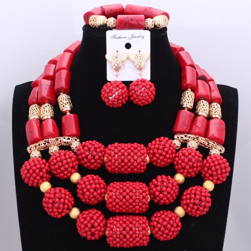 2017 Classic Nigerian Jewelry Set Red Beads and Natural Coral Africa Dubai Wedding Necklace Jewelry Free Shipping  2017 Classic Nigerian Jewelry Set Red Beads and Natural Coral Africa Dubai Wedding Necklace Jewelry Free Shipping