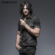 Punk Rave Rock Steampunk Fashion Men T-shirt Casual Balanced Pocket Short Sleeve Summer Denim Tops T-shirt все цены