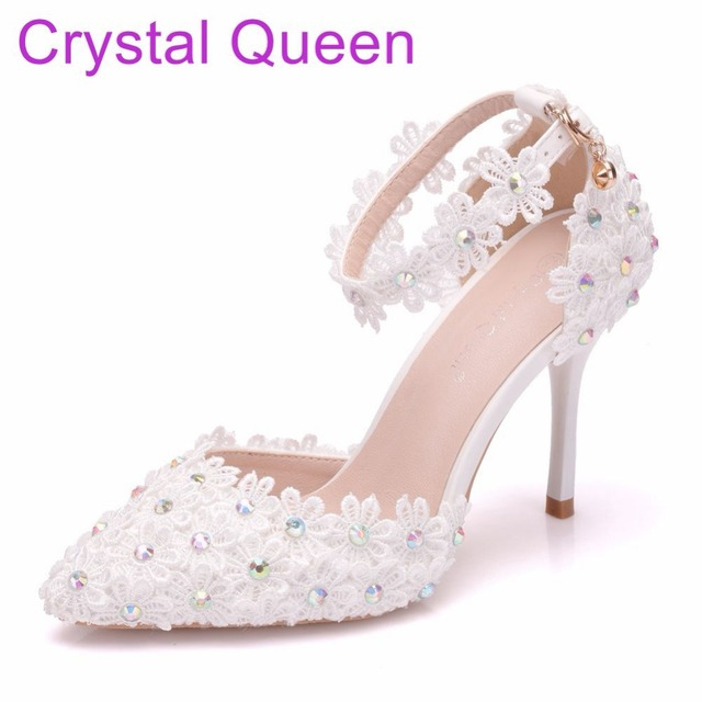 Crystal Queen Women Thin Heel Sandals High Heels Female White Lace Wedding  Shoes Pointed Toe Lace Flower Pearls Pumps dc976c3d3168