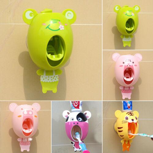 Intelligent Cute Cartoon Popular Convenient Plastic Automatic Toothpaste Dispenser Wall Mount Stand Bathroom