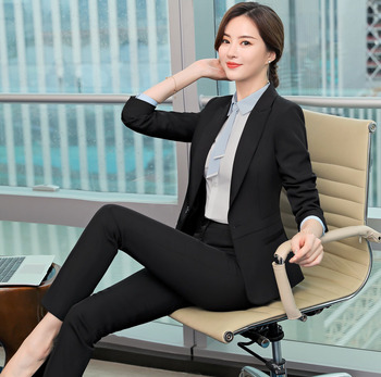 Professional suit female 2019 spring and autumn new fashion temperament black long-sleeved dress suit overalls two-piece women's ladies black suit 2019 autumn new temperament lady business office suit jacket female fashion trouser suit two piece overalls