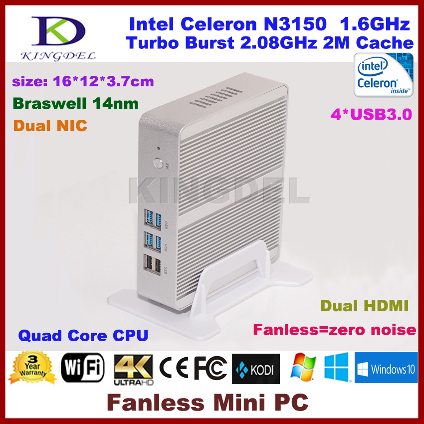 3 Years Warranty Barebone PC Intel NUC Celeron N3150 Intel Braswell Fanless Mini PC Windows HTPC Mini-Itx Micro PC