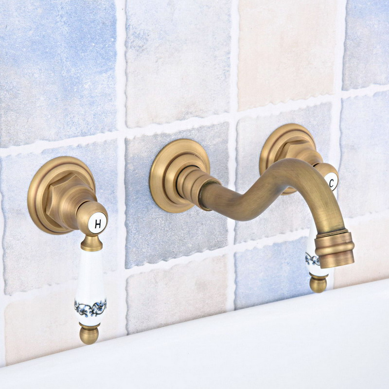 Antique Brass Widespread Wall-Mounted Tub 3 Holes Dual Ceramic Handles Kitchen Bathroom Tub Sink Basin Faucet Mixer Tap asf530