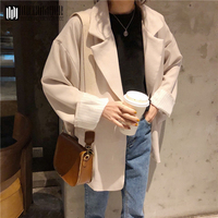 Duckwaver New Thin Wool Blend Coat Women Long Sleeve Turn down Collar Outwear Jacket Casual Autumn Winter Elegant Overcoat