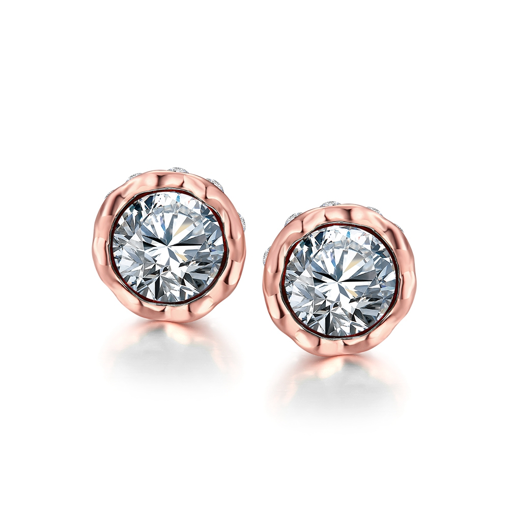 White Gold Studs made with Crystal Round Stud Earrings for Women Girls aFdbGQD