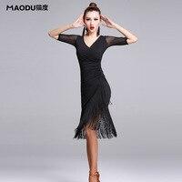 Neue Mode Sexy kurzhülse Latin Dance Quaste einteiliges kleid für frauen/weibliche, ballsaal tango Cha Cha Rumba Kostüme MD7121