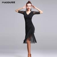 Nieuwe Mode Sexy Korte mouwen Latin Dance Kwastje een stuk jurk voor vrouwen/vrouwelijke, Ballroom tango Cha cha Rumba Kostuums MD7121