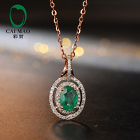 Caimao Jewelry Hot Sales 5x7mm Oval Shape Emerald 14K Rose Gold Diamond Engagement Pendant