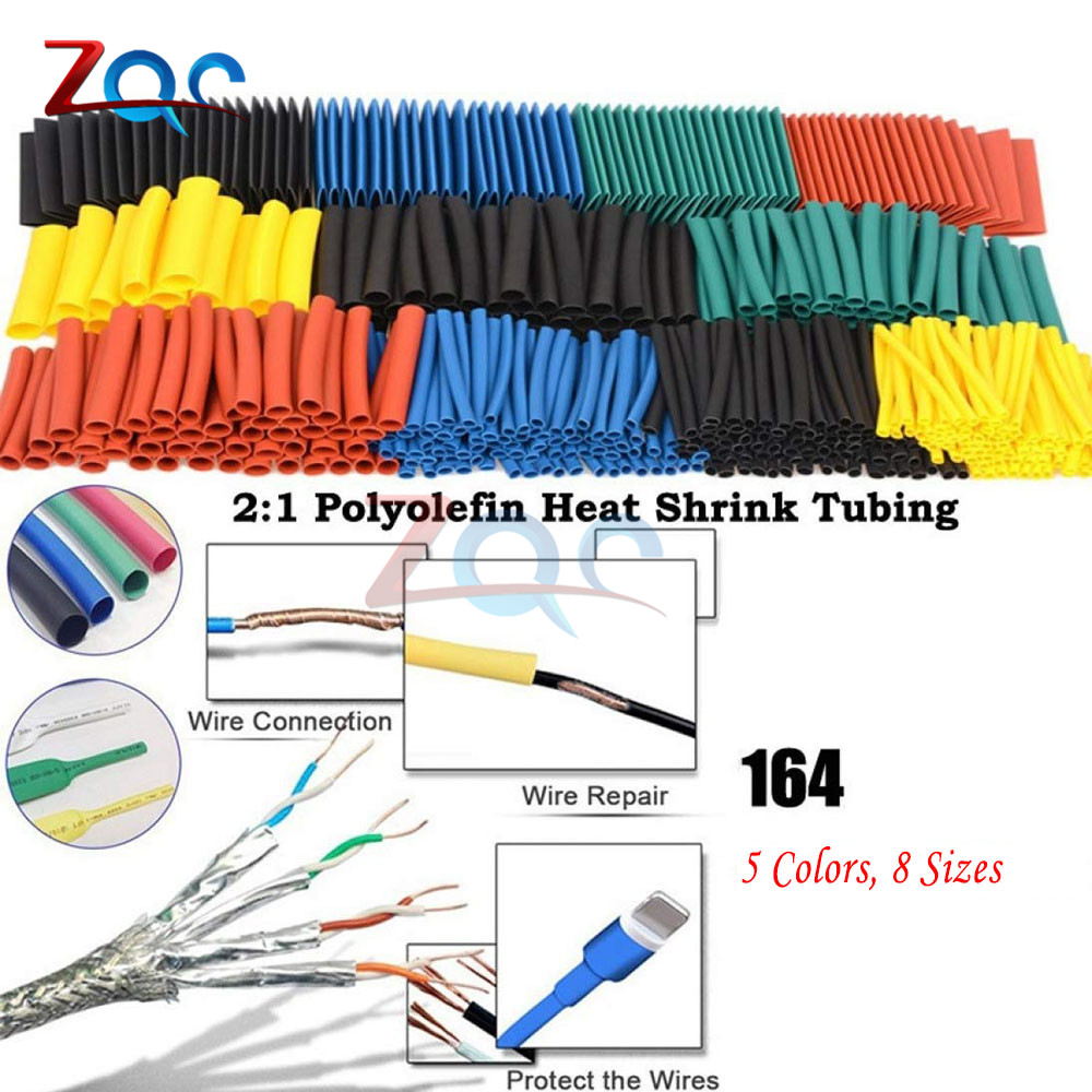 164pcs/Set Heat Shrink Tube Termoretractabil Polyolefin Shrinking Assorted Insulated Sleeving Tubing Wrap Wire Cable Sleeve Kit