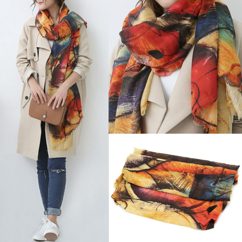 1pcs Womens Graffiti Scarves Long Wraps Shawl Imitation Cashmere Autumn Winter Scarf ...